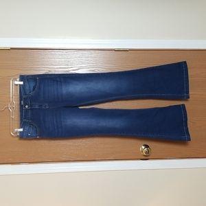 Kensie Medium/Dark Wash High Rise Flare Jeans Size 28